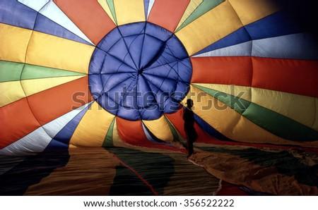 Hot-Air Balloon, interior photo - stock photo