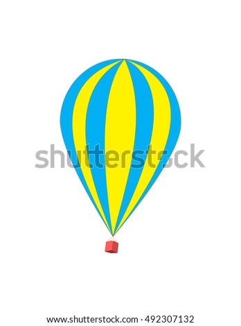 Hot air balloon isolated on white background. Striped beautiful flying balloon.