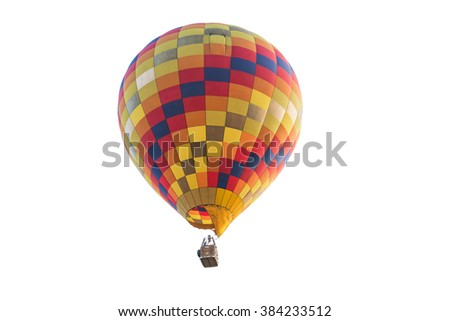 Hot air balloon isolated on white background with work path - stock photo