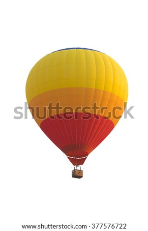 hot air balloon isolated on white with clipping path