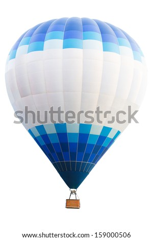 Hot air balloon, Isolated over white background with clipping path - stock photo