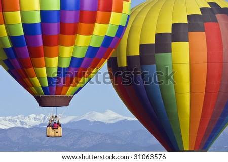 Hot air Balloon Rally in Colorado - stock photo