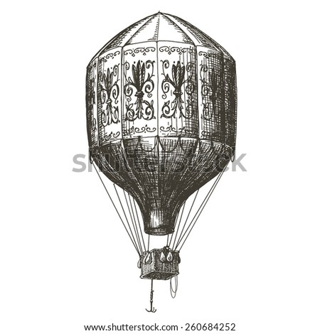 hot air balloon, transport on a white background - stock photo