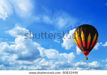 Hot air balloon with blue sky in Thailand. - stock photo