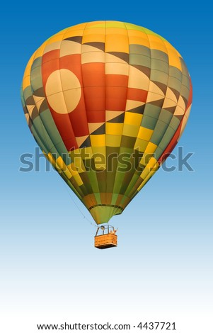 hot air balloon with clear blue sky background - stock photo
