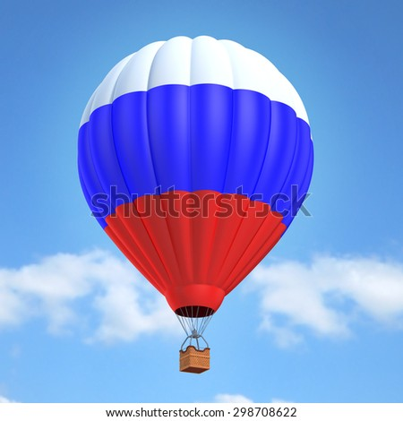 Hot air balloon with Russian flag - stock photo