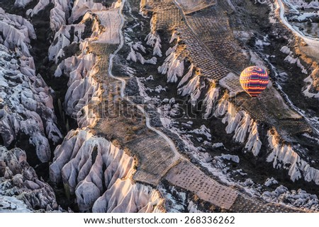 Hot Air Ballooning in Cappadocia, Turkey - stock photo