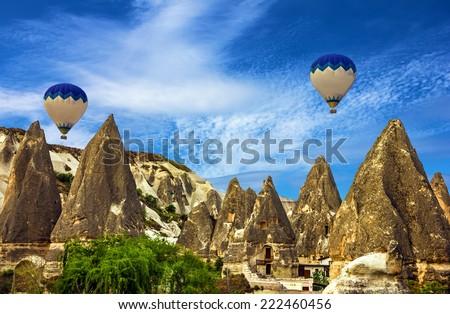 Hot air balloons, Cappadocia in Turkey - stock photo