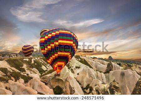 Hot air balloons, Cappadocia, Turkey - stock photo