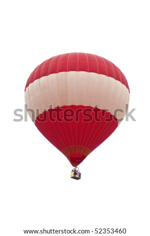 Hot air balloons float in the air with isolated white background - stock photo