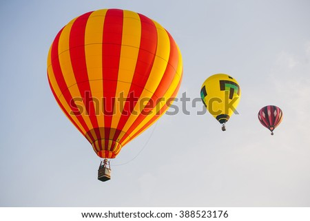 Hot-air balloons flying in the blue sky