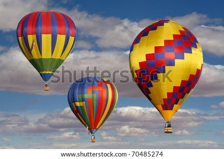 Hot Air Balloons in a Beautiful Cloudy Sky