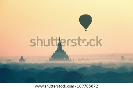 hot air balloons in Bagan Myanmar - stock photo