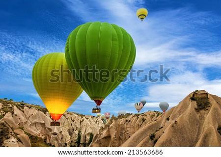 Hot air balloons in Cappadocia, Turkey - stock photo