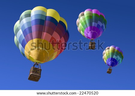 Hot air balloons in the blue sky - stock photo