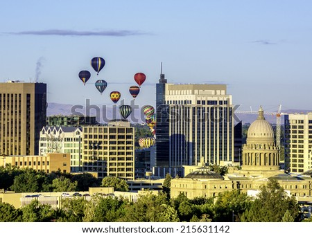 Hot air balloons over Boise Idaho - stock photo