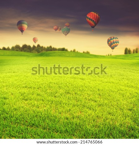 Hot air balloons over green summer meadow, abstract travel backgrounds - stock photo