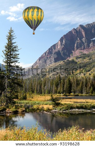 Hot Air Balloons Over Montana Landscape - stock photo
