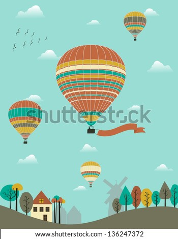 Hot air balloons over the country. - stock photo