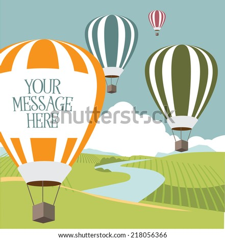 hot air balloons with copy space  - stock photo