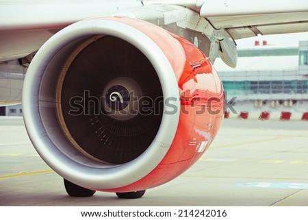 Hot air behind the aircraft engine - stock photo