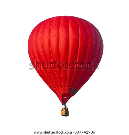 Hot Air Red balloon isolated on white background - stock photo