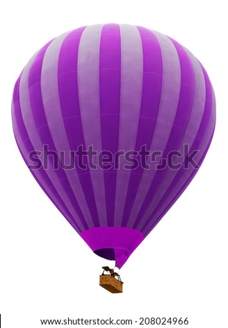 hot air striped violet balloon isolated on white background - stock photo
