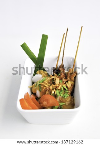 Hot and Spicy Chicken Satay - stock photo