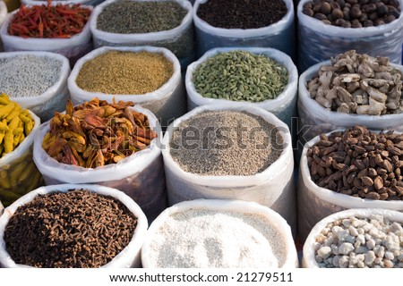 Hot and spicy spices used in cooking food - stock photo