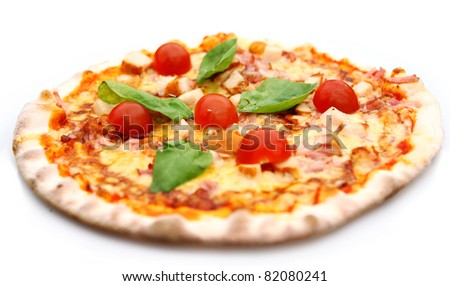 Hot and tasty pizza isolated on white background - stock photo