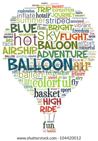 Hot balloon info-text graphics and arrangement concept (word cloud) - stock photo