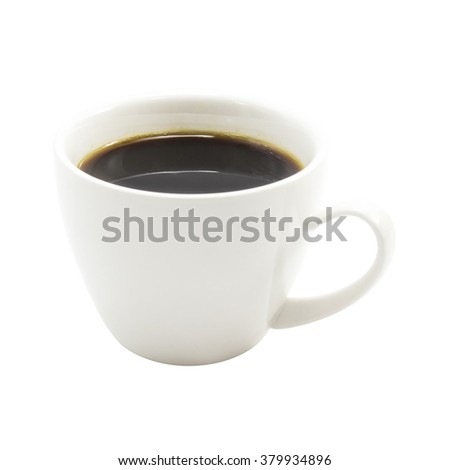 Hot black coffee in white cup on white background  - stock photo