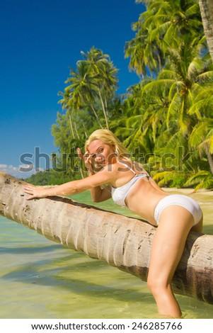Hot Blonde Tanning Pleasure  - stock photo