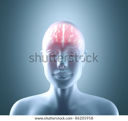 Hot brain in a cold body. Concept of technology, cyborg, brainstorm and intelligence - stock photo