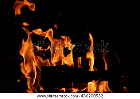 hot burning fire in fireplace in cold winter night closeup
