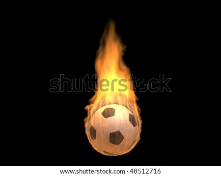 Hot burning football (3d isolated on dark background sports objects concepts series) - stock photo