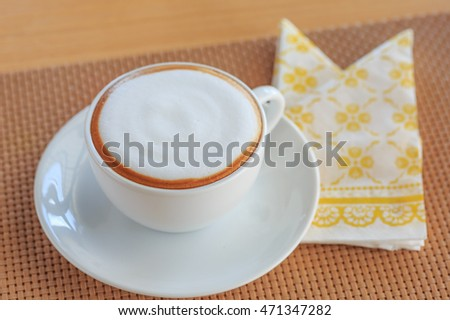 hot cappuccino coffee cup