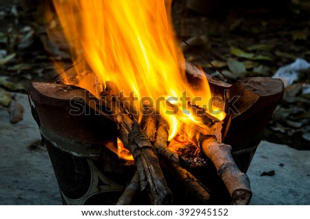 hot charcoal in the fire
