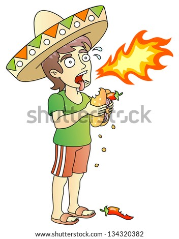 Hot Chili Peppers. Hot Burrito. Young man. Food test. Raster version, vector file also included in the portfolio. - stock photo