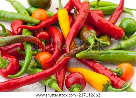 Hot chili peppers in the basket - stock photo