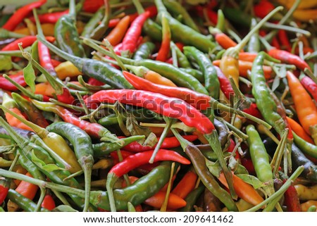 hot chilli peppers in market - stock photo
