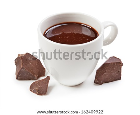 Hot chocolate and chocolate pieces isolated on white background - stock photo