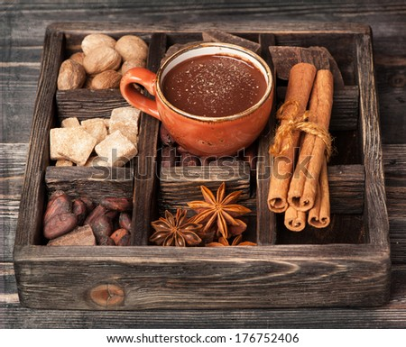 Hot chocolate and vintage wooden box with spices - stock photo
