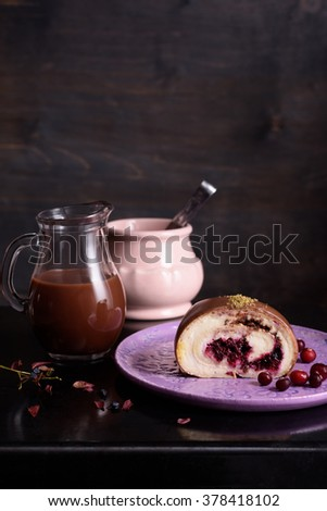 Hot chocolate drink and piece cranberry almond cake, close up. - stock photo