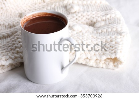hot chocolate drink in white mug on white background - stock photo