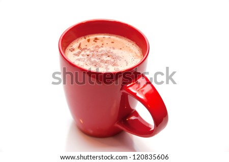 Hot chocolate in a red cup isolated on white - stock photo