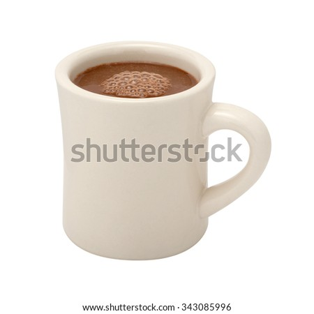 Hot Chocolate in a white ceramic mug. The image is a cut out, isolated on a white background, with a clipping path. - stock photo