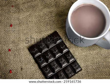 Hot chocolate on wooden table