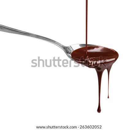 hot chocolate pouring stream with a spoon on a spoon on a white background - stock photo