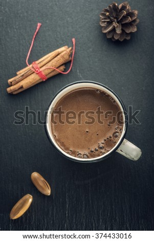 Hot chocolate top view - stock photo